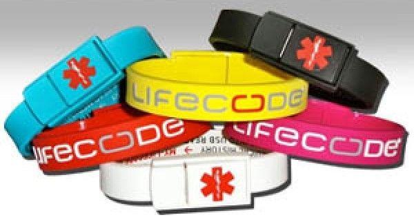 Bracelet Lifecode Clé USB avec Données Médicales Personnelles