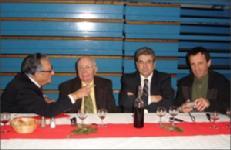 José Alvarez, Jean Pitallier, Henri Laffargue et Serge Dutouron<br>à la table d'honneur du repas de l'assemblée générale du comi