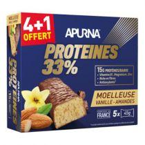 Boîte 5 Barres 45g HyperProtéinée Apurna Proteines 33% Moelleuse