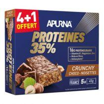 Boîte 5 Barres 45g HyperProtéinée Apurna Proteines 35% Crunchy