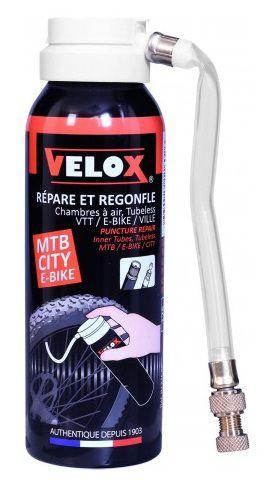 Bombe Velox 125 ml avec Tuyau et Raccord Vissé - Répare et Regonfle Boyau, Chambre à Air et Tubeless