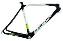 Cadre Ferrus GX3 Full Carbone Noir/Blanc/Vert- Boîte filetée