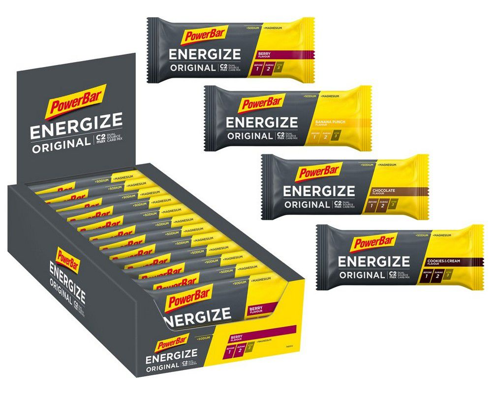 Carton de 25 Barres PowerBar Energize C2 Max Original  Assorties