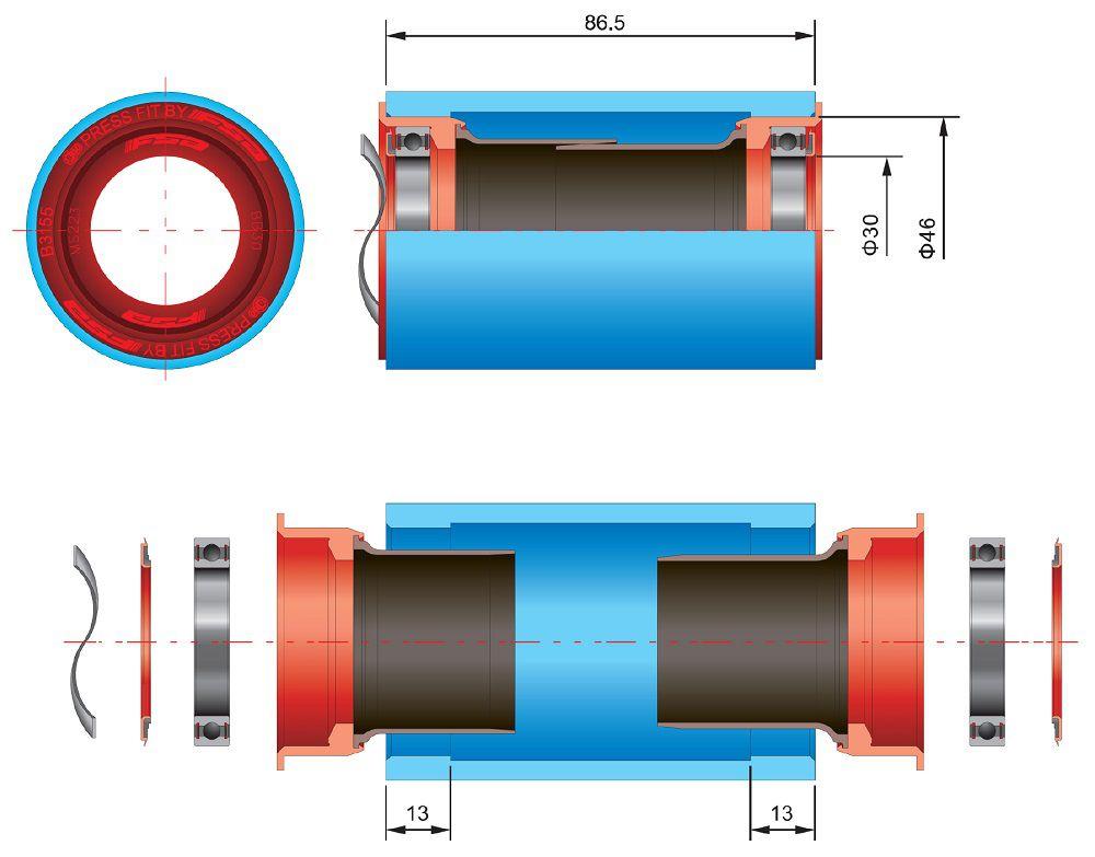 Cuvettes FSA PF 30 Press Fit Diam. 46 - Largeur Boîtier 86.5 mm