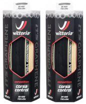 Duo Pack Pneus Vittoria Corsa Control Graphène 700x25 - Super Promo