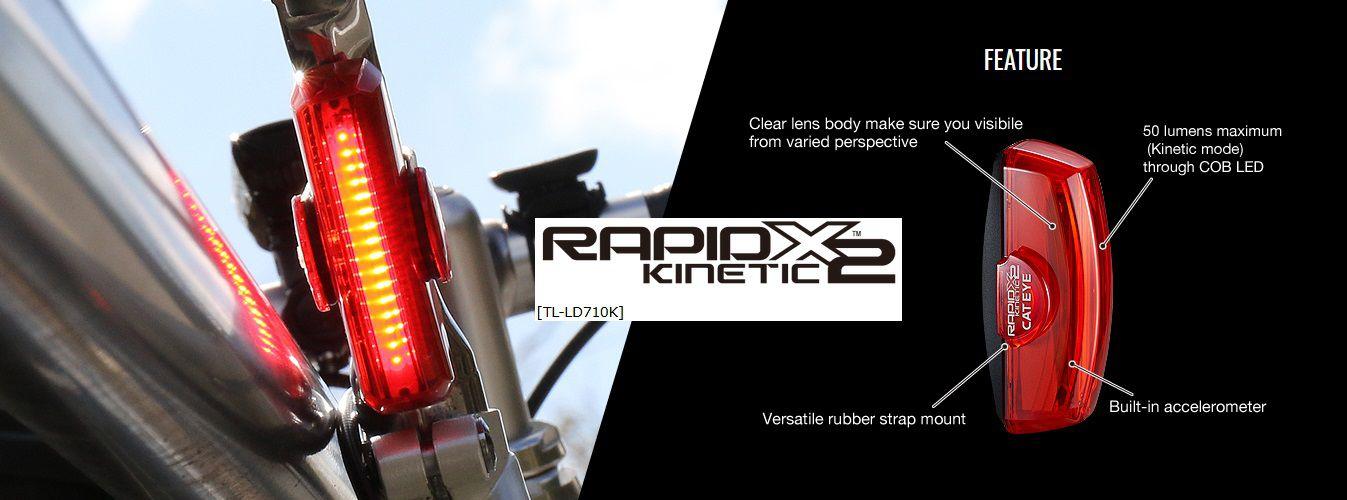 Eclairage Arrière Cateye Rapid Kinetic X2 USB Réf. TL-LD710K - 50 Lumens