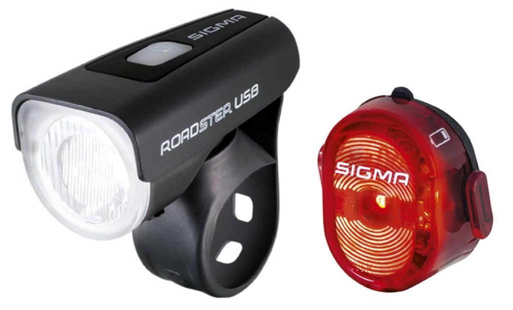 Eclairage Avant Sigma Roadster USB K-Set 25 Lux Noir + Arrière Nugget II
