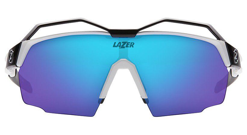 Lunettes Lazer Vento Glosse White + Top Noir/Blanc/Rouge - 3 Ecrans Bleu/Clair/Jaune