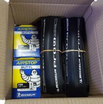 Pack 2 Pneus Michelin Pro4 Service Course 700x23 + 2 Chambres Air Stop A1 40mm