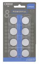 Piles CR2032 3v - Lot de 8