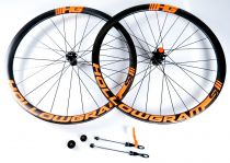 Roues Carbone Cannondale Hollowgram Si Disc CL 700x35mm Pneus Stickers Oranges HG
