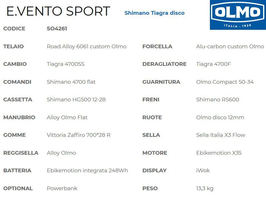 Vélo Assistance Electrique Olmo E.Vento Sport Tiagra Disc - Moteur Roue Arrière - Cintre Plat
