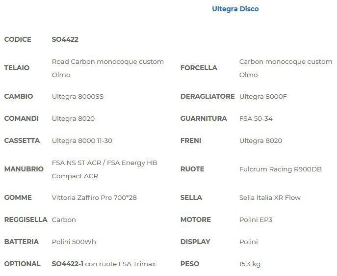 Vélo Assistance Electrique Route Olmo E-Bro Dura Ace Disc - Art. SO4412