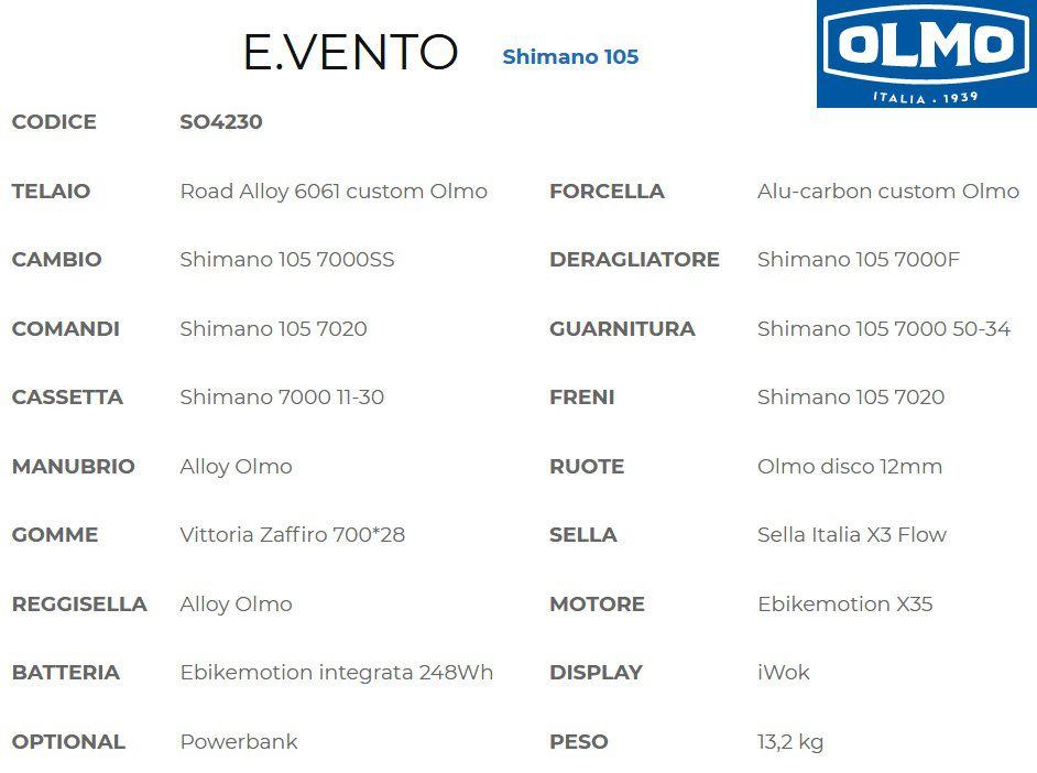Vélo Assistance Electrique Route Olmo E.Vento Disc 105 - Moteur Roue Arrière